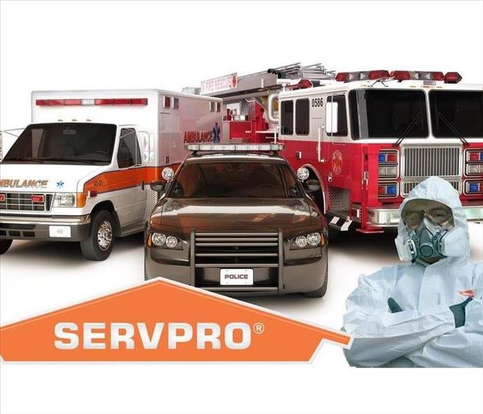 A SERVPRO graphic with first responder vehicles and a SERVPRO technician.