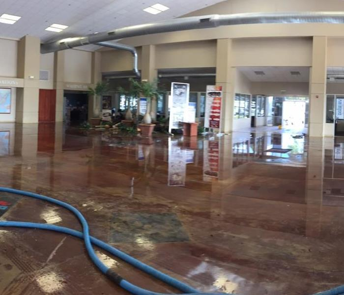 A flooded office building with water all over the floors.
