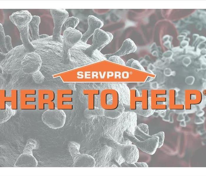 An up close image of the COVID-19 virus with the SERVPRO hat and words here to help in front.