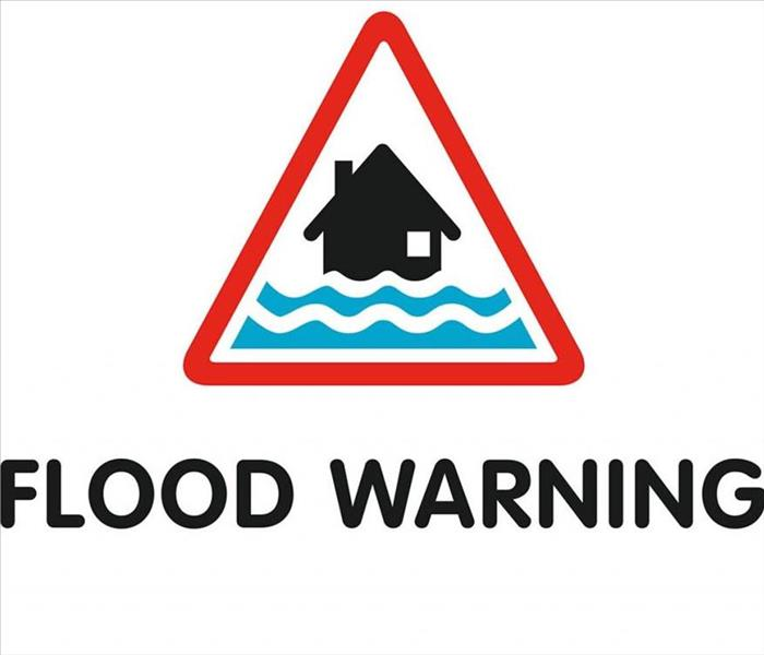 A flood warning sign.