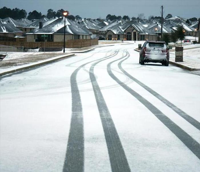 Iced over roads in a neighborhood.