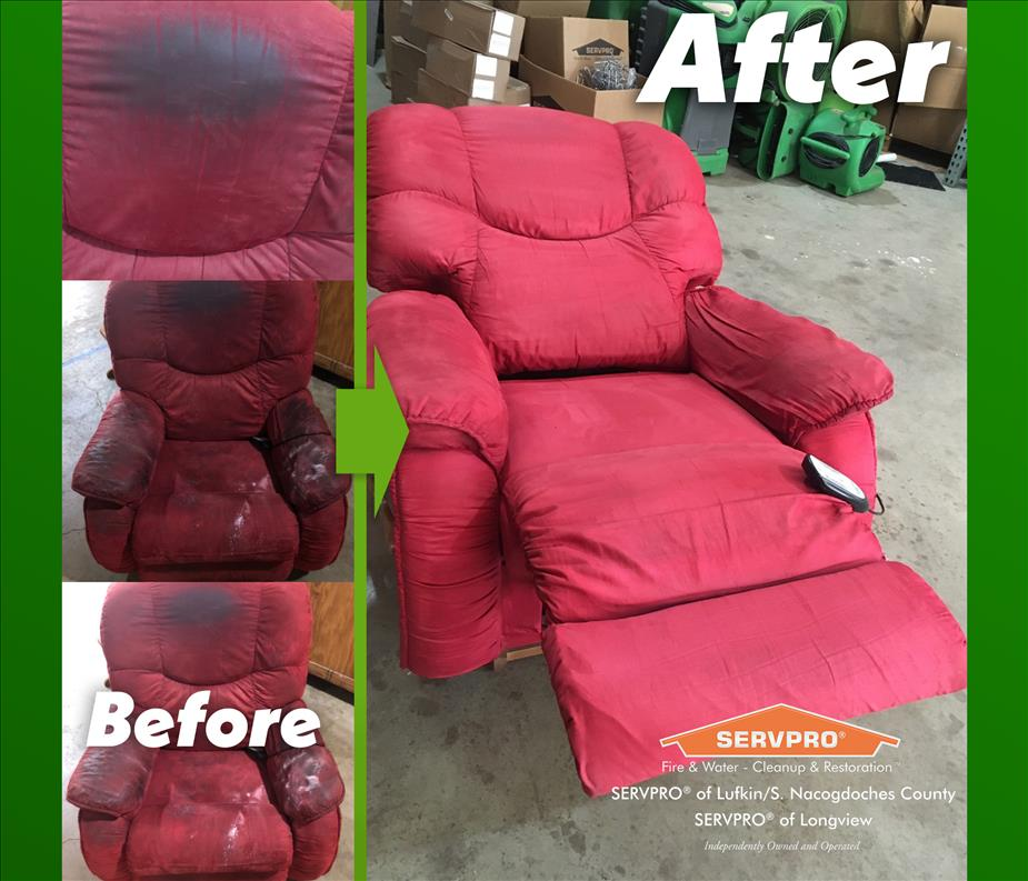 Before and After Picture of Restored Recliner